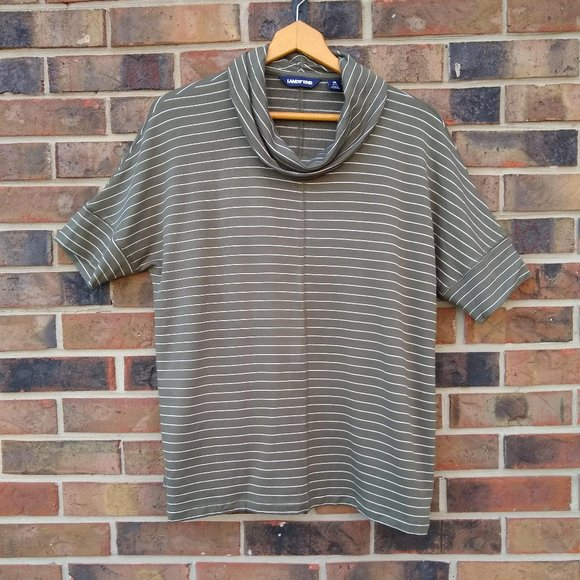 Land's End Striped Green Mockneck Size M